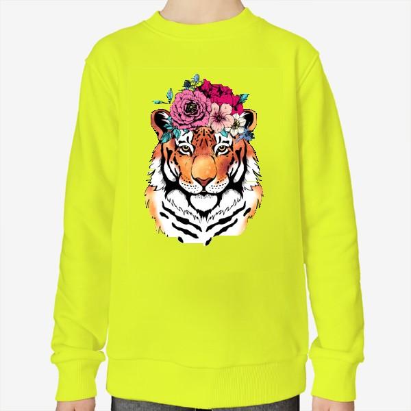 Свитшот «Тигрица в цветочном венке»