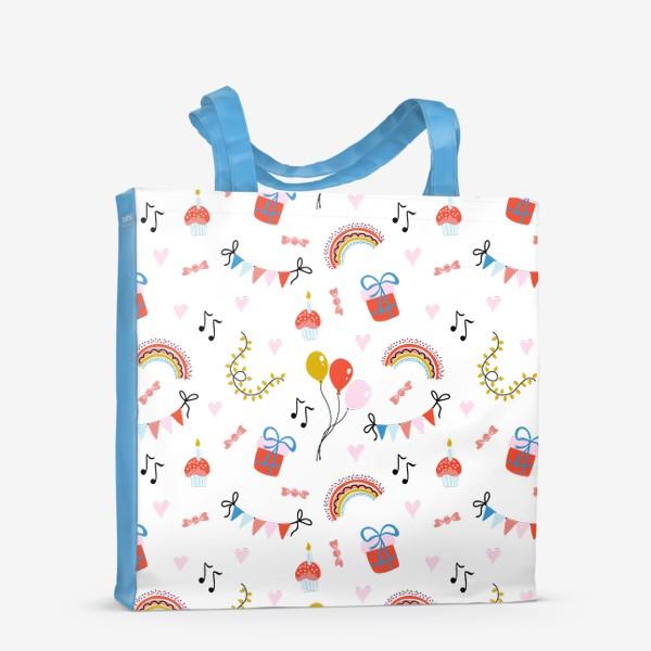 Сумка-шоппер «Праздничный паттерн с подарками и радугой»
