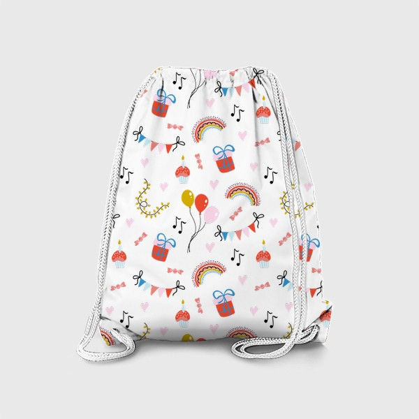Рюкзак «Праздничный паттерн с подарками и радугой»