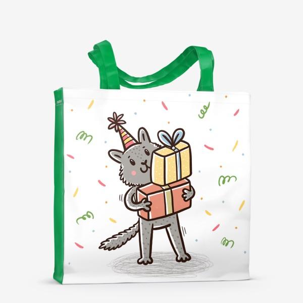 Сумка-шоппер «Милый серый котик с подарками. Праздник»