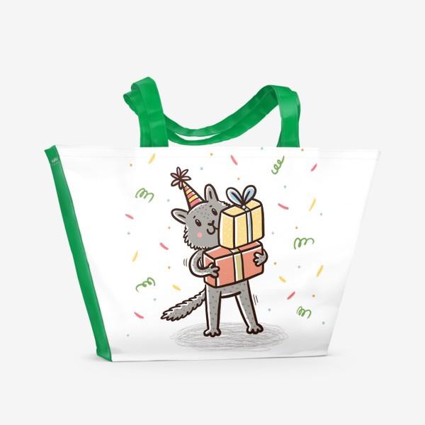 Пляжная сумка «Милый серый котик с подарками. Праздник»