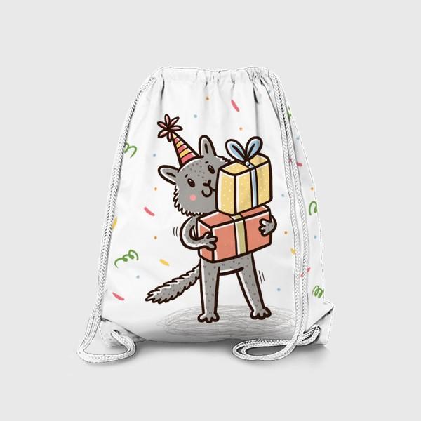 Рюкзак «Милый серый котик с подарками. Праздник»