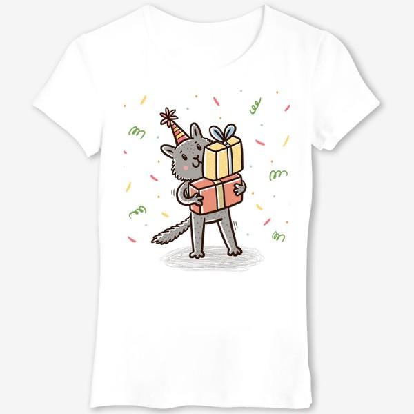 Футболка «Милый серый котик с подарками. Праздник»