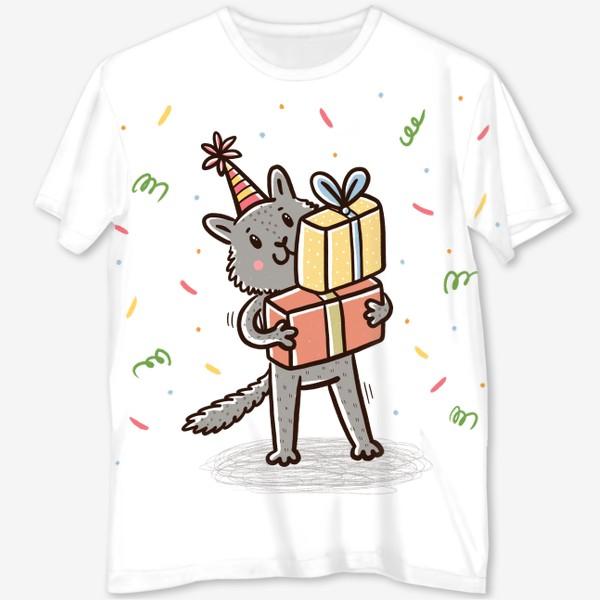 Футболка с полной запечаткой «Милый серый котик с подарками. Праздник»