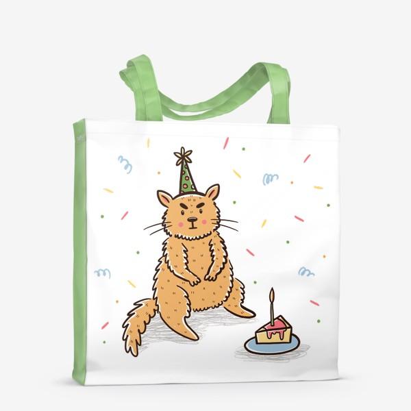Сумка-шоппер «Недовольный милый котик. Праздник. День рождения»