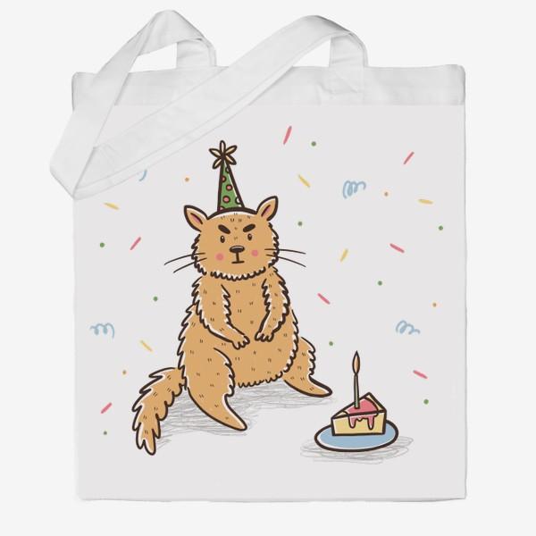 Сумка хб «Недовольный милый котик. Праздник. День рождения»
