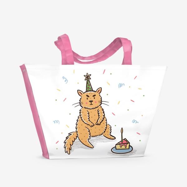 Пляжная сумка «Недовольный милый котик. Праздник. День рождения»