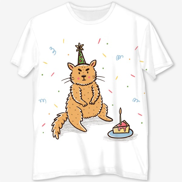 Футболка с полной запечаткой «Недовольный милый котик. Праздник. День рождения»
