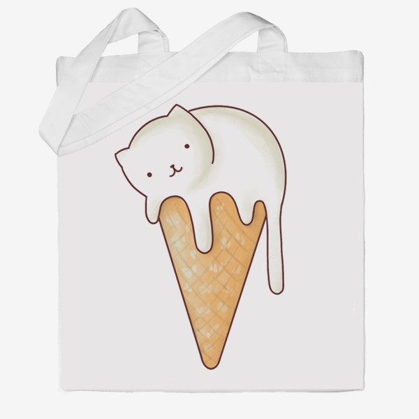 Сумка хб «котик мороженное»
