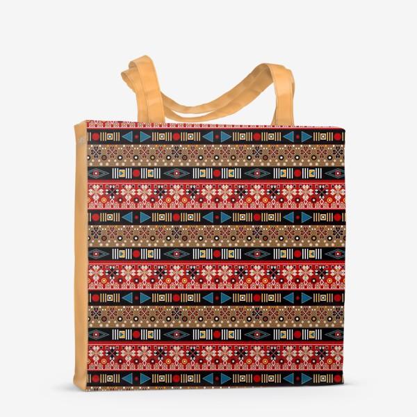 Сумка-шоппер «Этнический красно-синий орнамент»