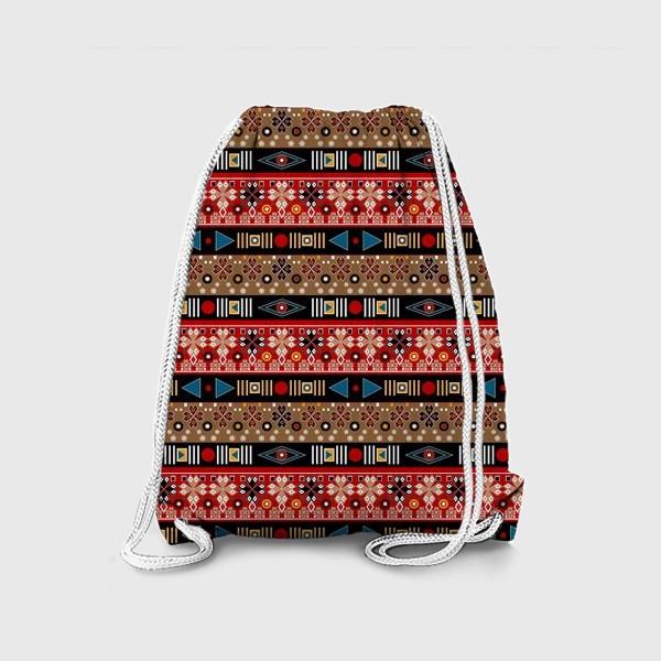 Рюкзак «Этнический красно-синий орнамент»