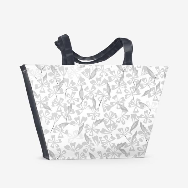 Пляжная сумка «цветы чёрно-белые»