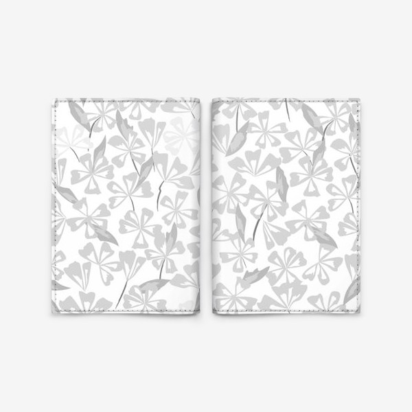 Обложка для паспорта «цветы чёрно-белые»