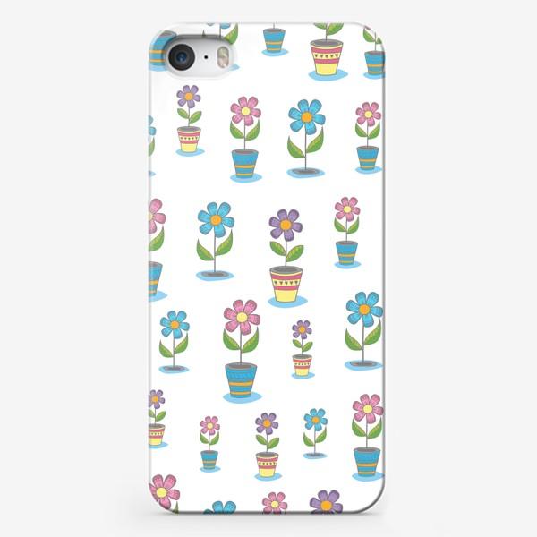 Чехол iPhone «Яркие цветы в горшочках»