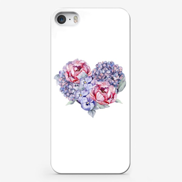 Чехол iPhone «Цветочное сердце. Пионы.Гортензии»