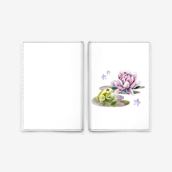 Обложка для паспорта «Лягушка и лилия»