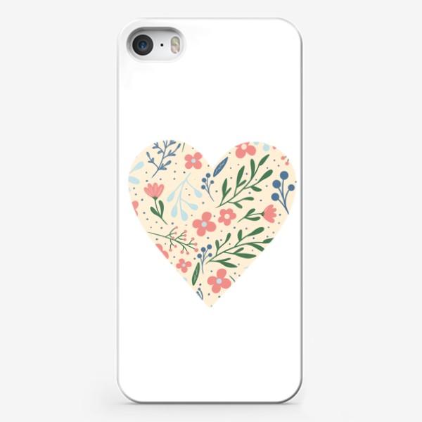 Чехол iPhone «Цветочный паттерн лето любовь сердце»