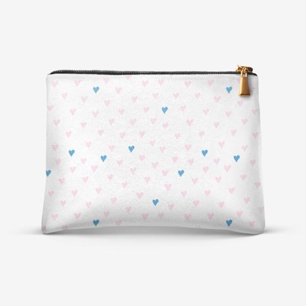 Косметичка «Паттерн с розовыми и синими сердечками»