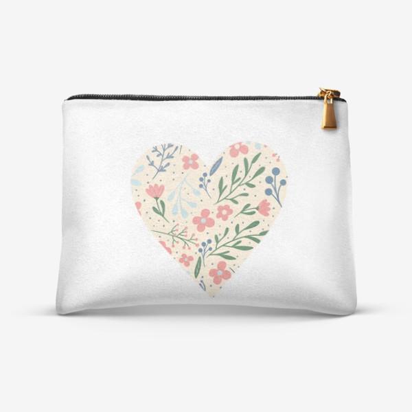 Косметичка «Цветочный паттерн лето любовь сердце»