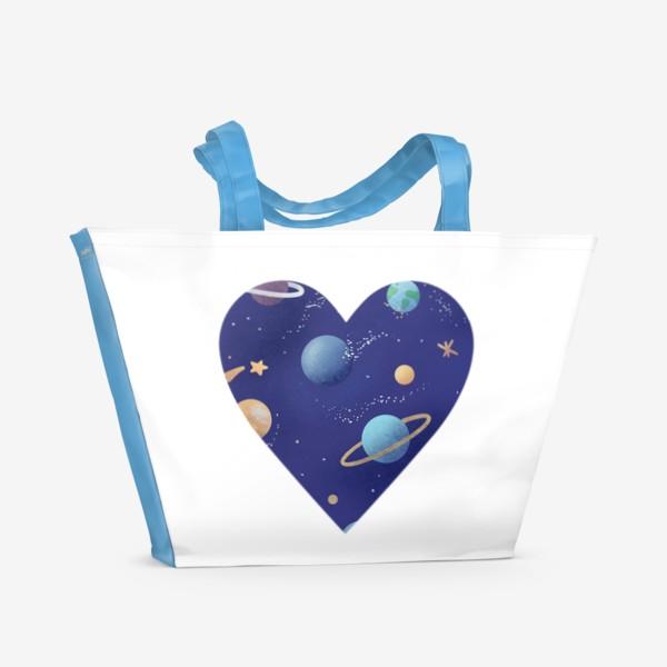 Пляжная сумка «Космос любовь сердце»