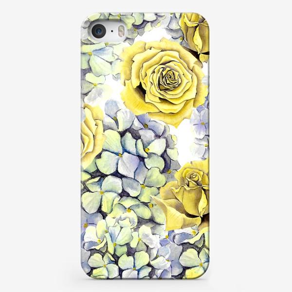 Чехол iPhone «Цветы, жёлтые розы и гортензия»