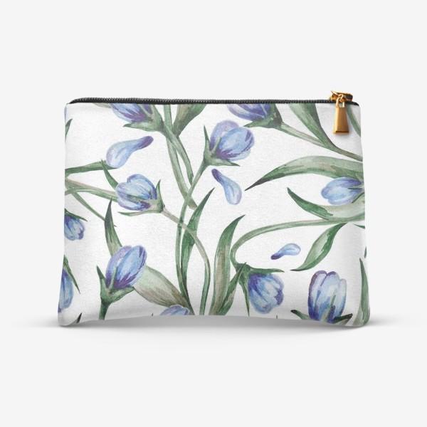 Косметичка «Голубые цветы принт»