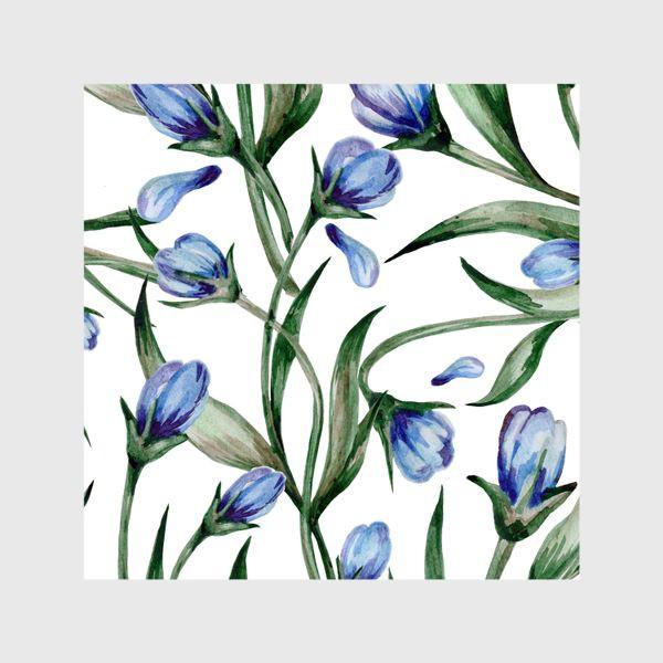 Шторы «Голубые цветы принт»