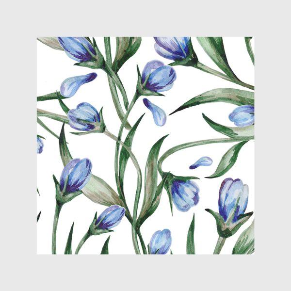 Скатерть «Голубые цветы принт»
