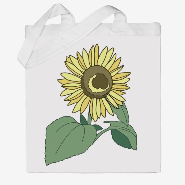 Сумка хб «Цветок Подсолнух Будь позитивным Sunflower Be Positive»