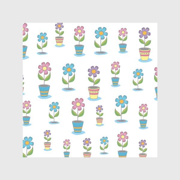 Скатерть «Яркие цветы в горшочках»