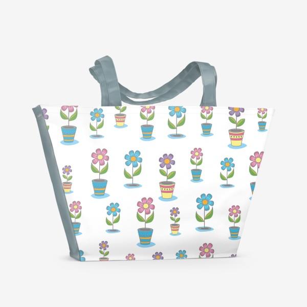 Пляжная сумка «Яркие цветы в горшочках»