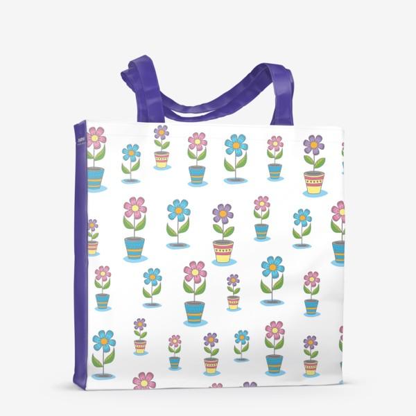 Сумка-шоппер «Яркие цветы в горшочках»