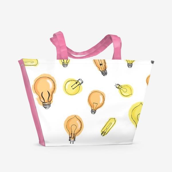 Пляжная сумка «Паттерн Лампочки»