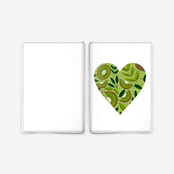 Обложка для паспорта «Лето киви любовь сердце»