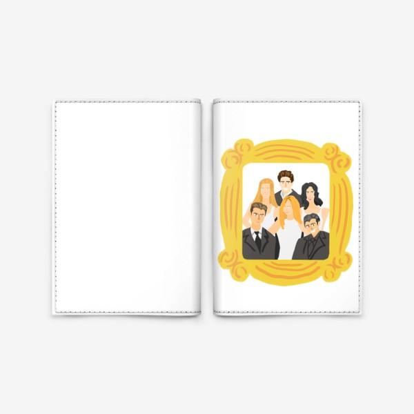 Обложка для паспорта «Сериал Друзья: Рейчел, Фиби, Моника, Росс, Чендлер, Джо. Желтая рамка. Портрет. Диджитал. Цвет. Стиль. Люди. Fashion. »