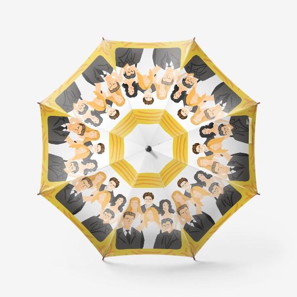 Зонт «Сериал Друзья: Рейчел, Фиби, Моника, Росс, Чендлер, Джо. Желтая рамка. Портрет. Диджитал. Цвет. Стиль. Люди. Fashion. »