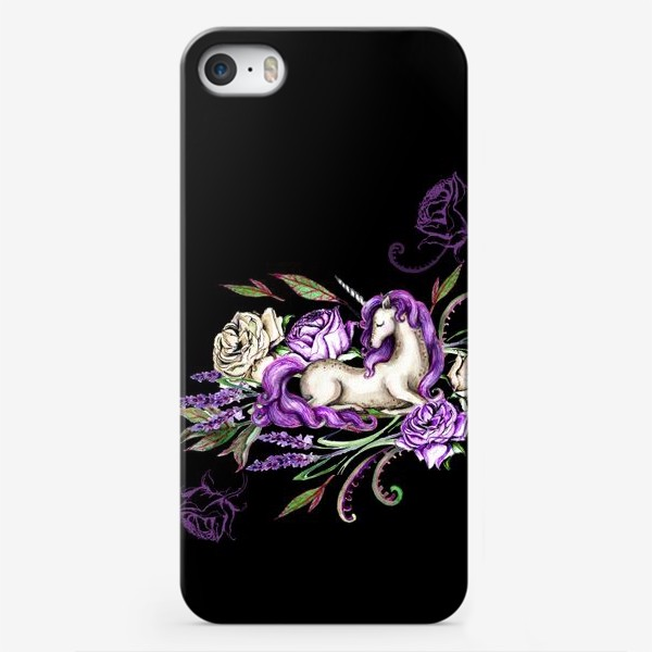 Чехол iPhone «Единорог среди цветов на черном фоне»