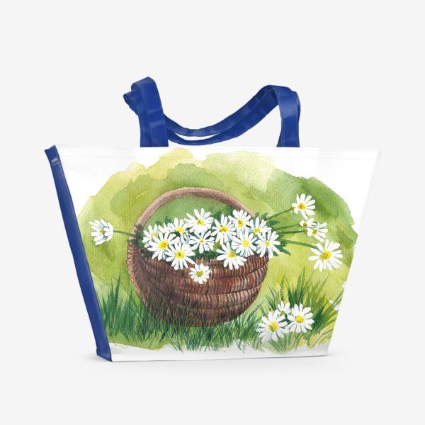 Пляжная сумка «Корзина с ромашками»