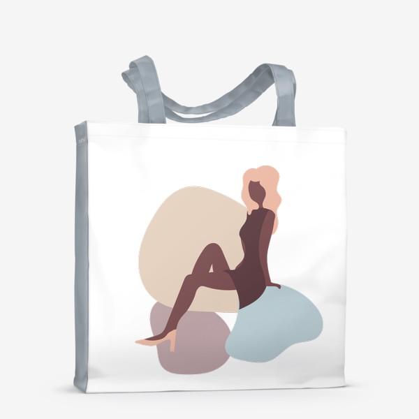 Сумка-шоппер «Абстракция девушка в платье - бежевые тона»