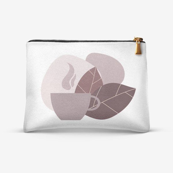 Косметичка «Чашка кофе и листья в коричневом и бежевом цвете»