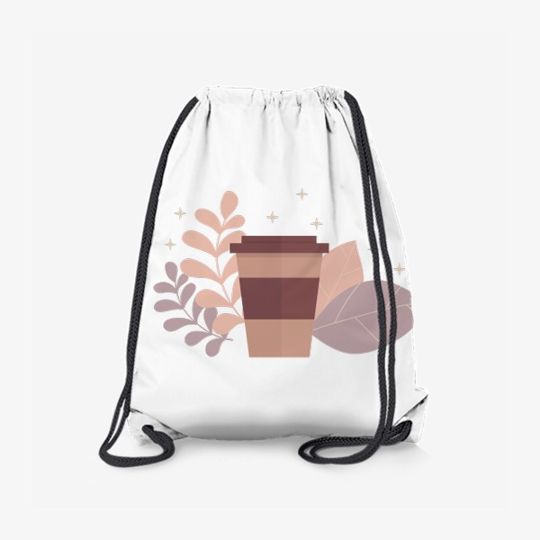 Рюкзак «Стакан кофе с листиками - осенний принт»