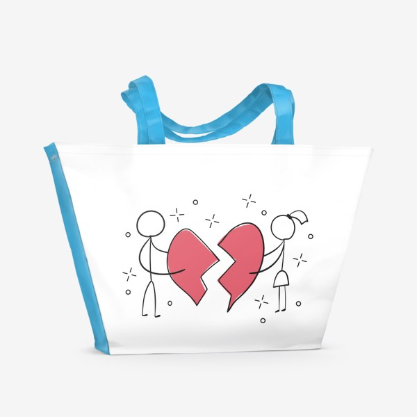 Пляжная сумка «Разбитое сердце - парень и девушка - Половинки»