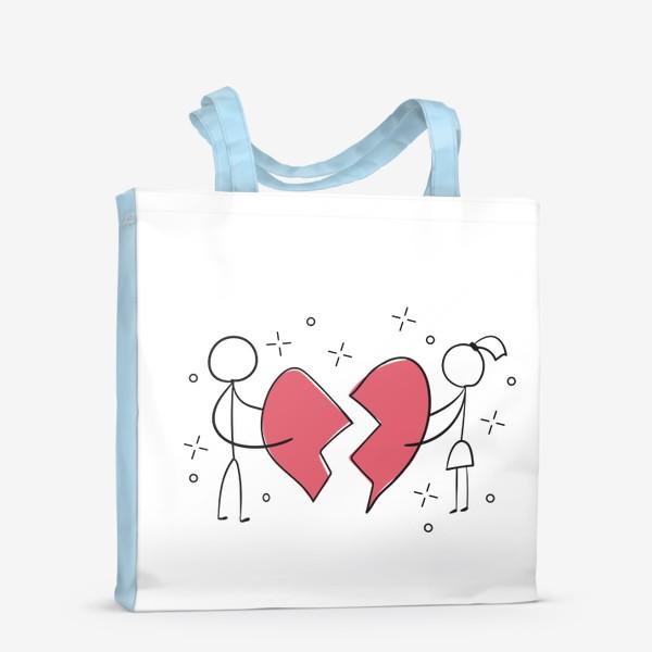 Сумка-шоппер «Разбитое сердце - парень и девушка - Половинки»
