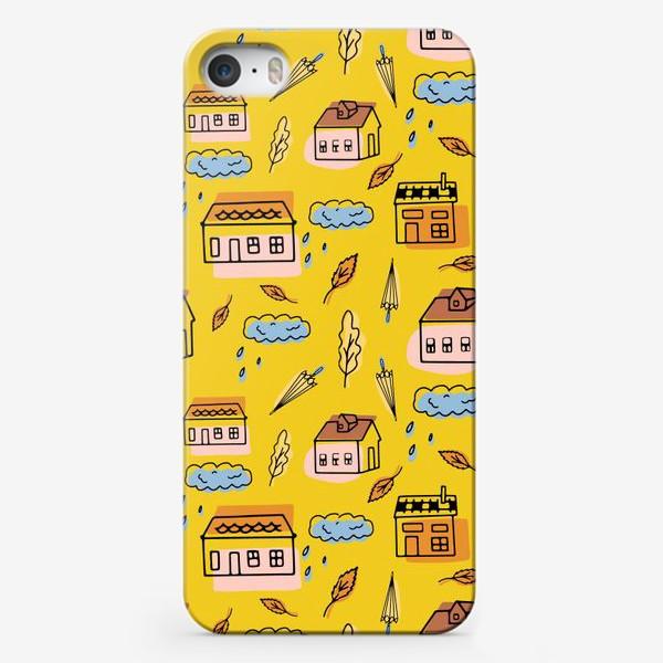 Чехол iPhone «Домики на желтом.Осень.»
