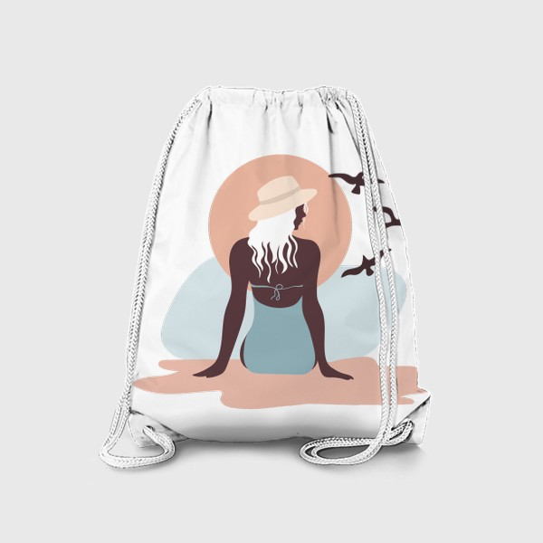 Рюкзак «Девушка в купальнике на берегу моря, закат и чайки»
