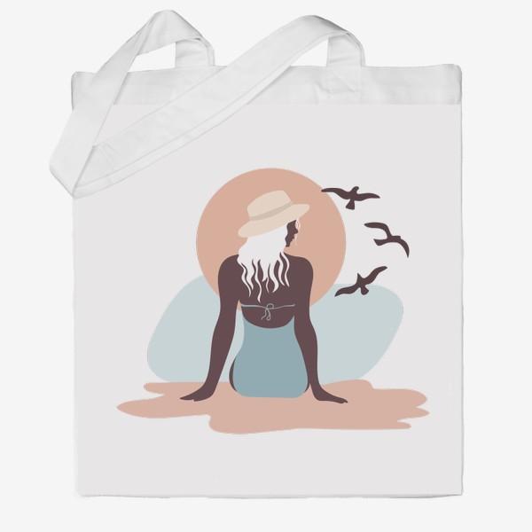 Сумка хб «Девушка в купальнике на берегу моря, закат и чайки»