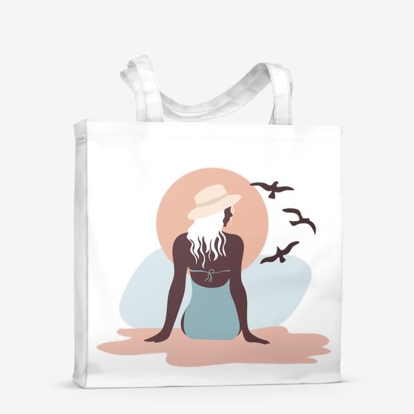Сумка-шоппер «Девушка в купальнике на берегу моря, закат и чайки»