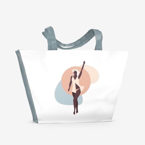 Пляжная сумка «Девушка в соломенной шляпе - бежевые тона»