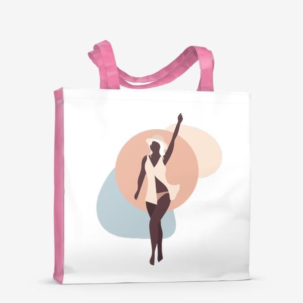 Сумка-шоппер «Девушка в соломенной шляпе - бежевые тона»