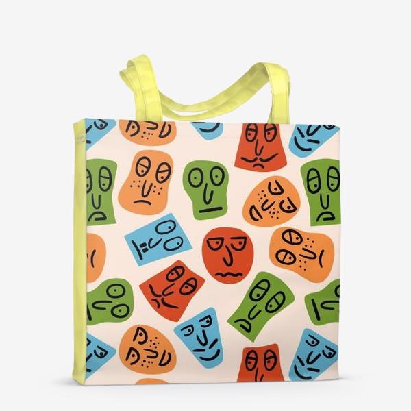 Сумка-шоппер «Рожицы с различными эмоциями и абстрактные пятна»
